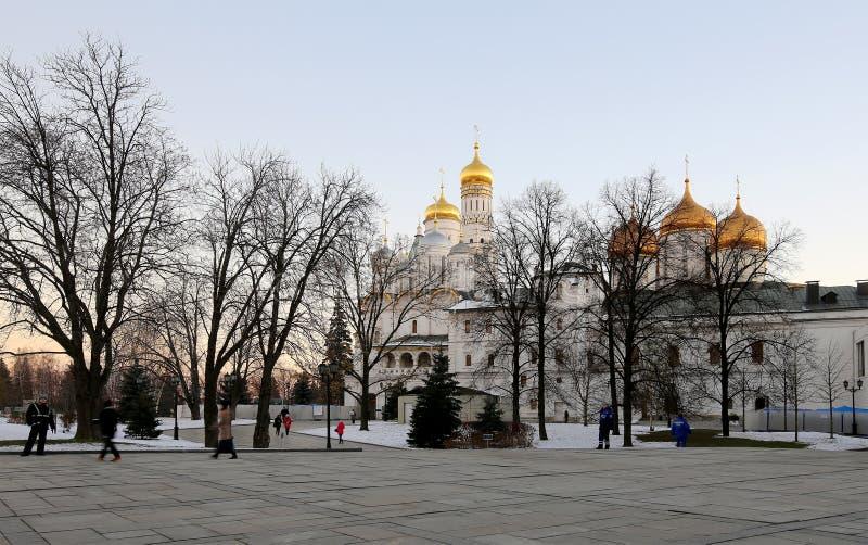 在克里姆林宫里面在晚上,俄罗斯 科教文组织世界遗产站点 免版税库存照片