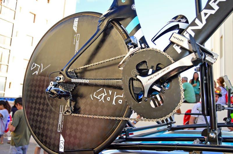 在克里斯Froome的时间试验自行车的Osymetric Chainring 库存照片