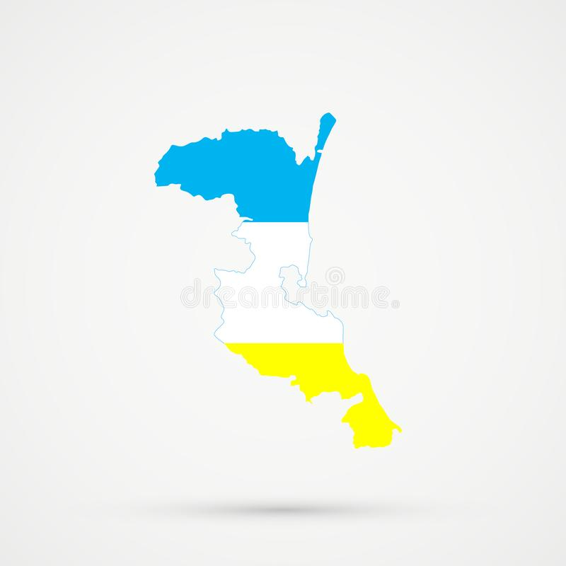 在克里米亚半岛Karaites族群旗子颜色的Kumykia达吉斯坦地图,编辑可能的传染媒介 向量例证