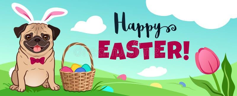在兔宝宝服装的逗人喜爱的哈巴狗狗在绿色领域,复活节篮子充分坐糖果鸡蛋,在草掩藏的鸡蛋,传染媒介动画片 向量例证