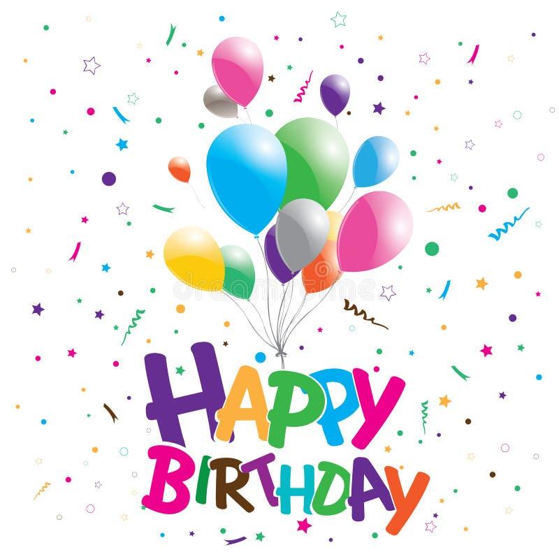 在党背景的生日快乐 与多彩多姿的气球的生日快乐 皇族释放例证