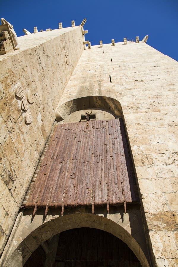 在入口的古老木滚动快门门对histo 免版税库存照片