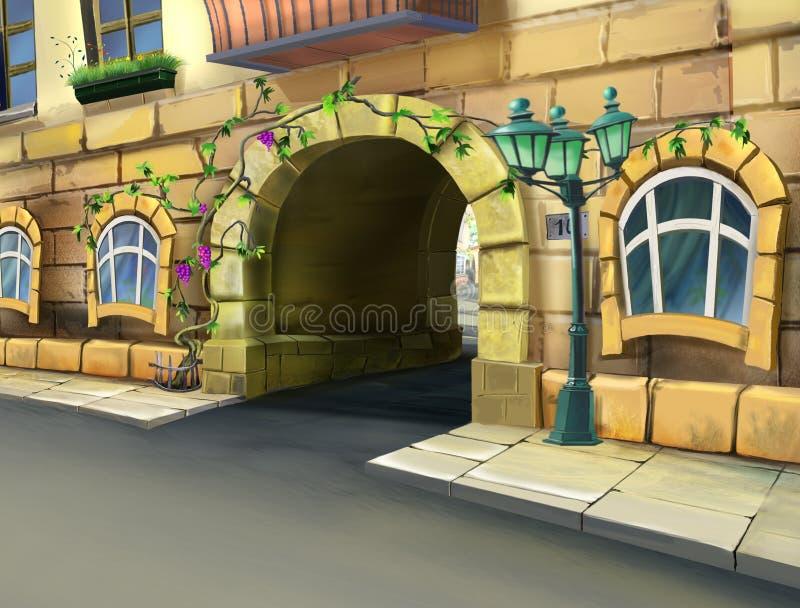 在入口的曲拱对庭院 皇族释放例证