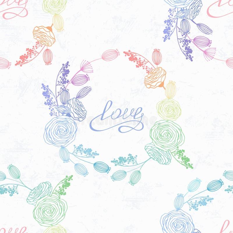 在全息图样式和彩虹颜色的手拉的花卉无缝的样式 重点 手写的爱 库存例证