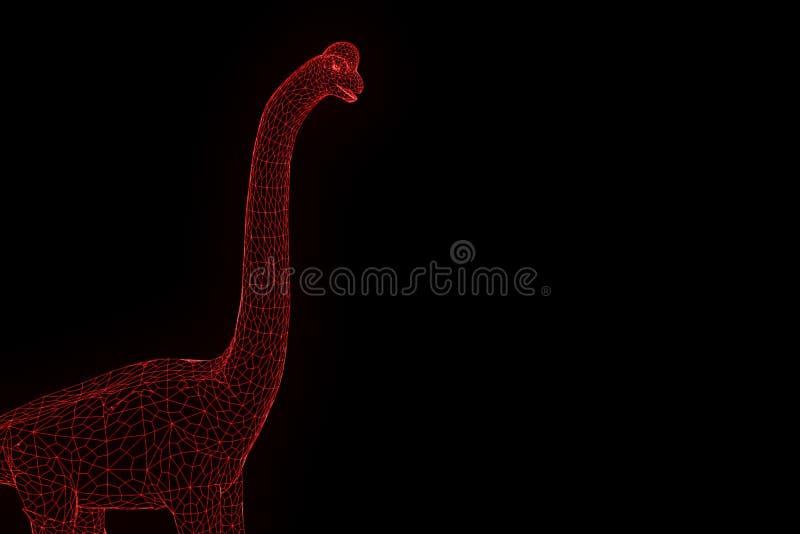 在全息图Wireframe样式的恐龙腕龙 好的3D翻译 库存例证