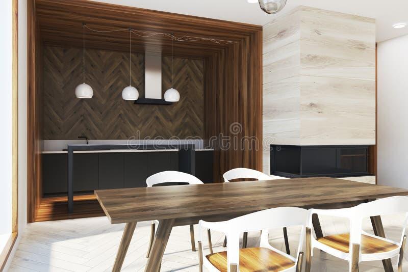 在全景厨房边的黑暗的木桌 皇族释放例证