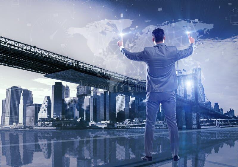 在全球企业概念的商人 向量例证