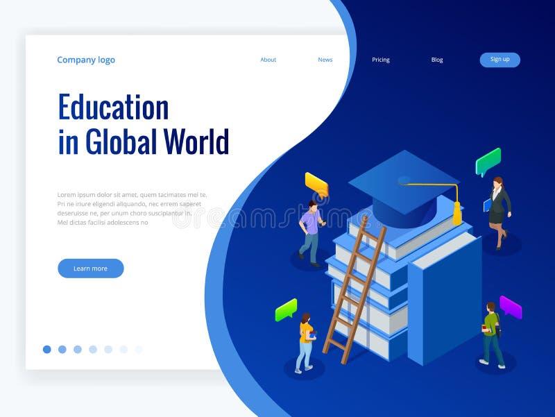在全球性世界的等量教育 书步教育 网上教育概念 网上训练路线 库存例证
