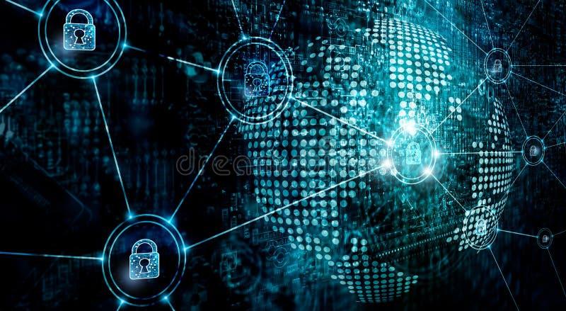 在全球网络,信息技术在互联网上的安全部门的Cybersecurity 免版税库存图片