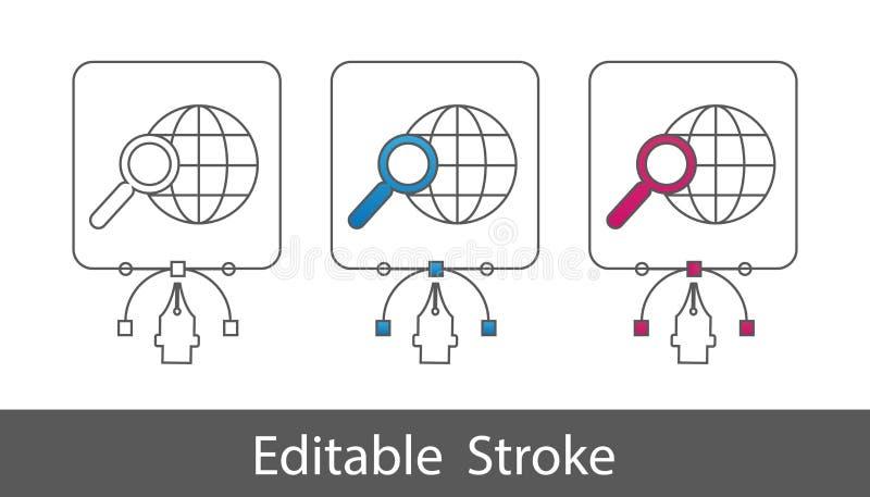在全球资讯网标志-概述的查寻称呼了象-在白色背景-传染媒介例证-隔绝的编辑可能的冲程 向量例证