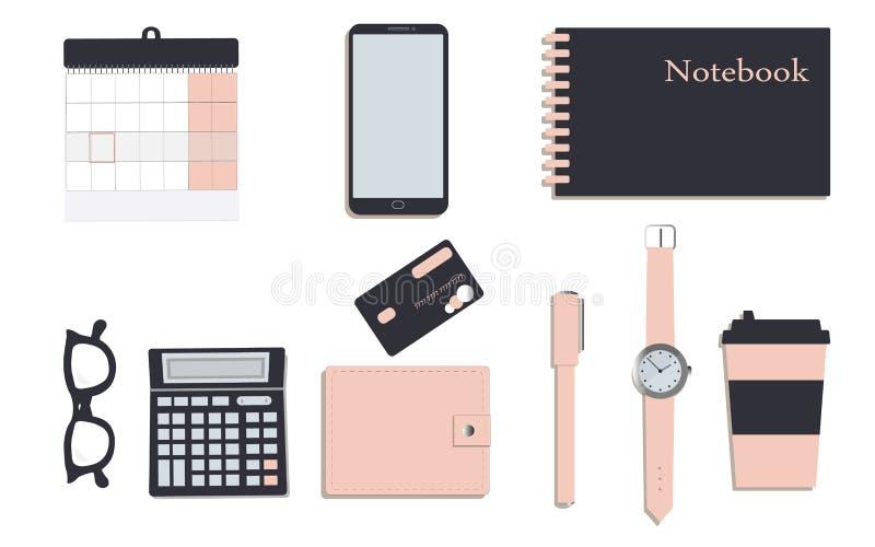 在公司本体时髦颜色的企业文具:海军和桃红色 笔记本 日历和笔 一个钱包 ?? ?? 库存例证