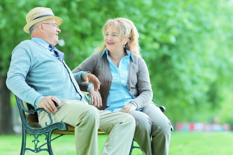 在公园供以座位的成熟夫妇谈话 免版税库存图片
