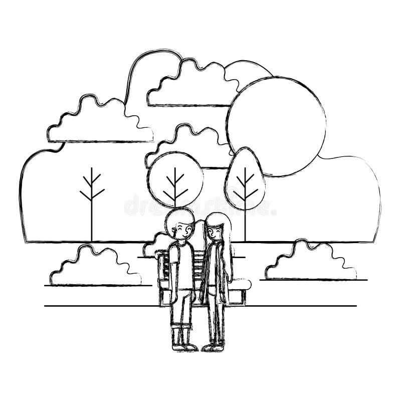在公园具体化字符的年轻夫妇 向量例证
