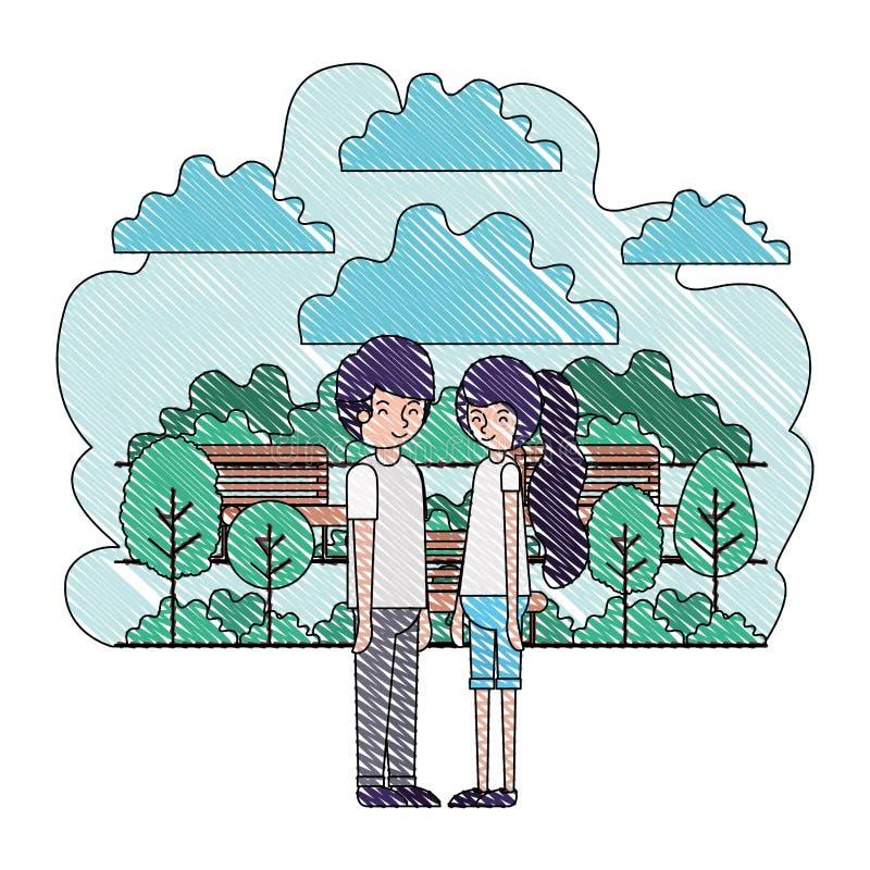 在公园具体化字符的年轻夫妇 皇族释放例证