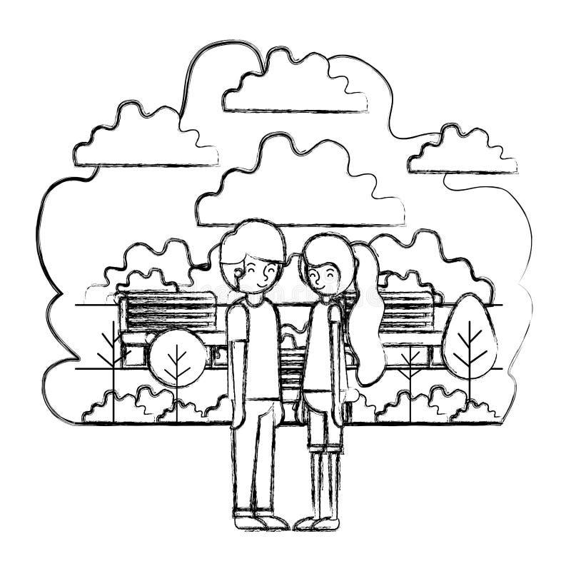 在公园具体化字符的年轻夫妇 库存例证