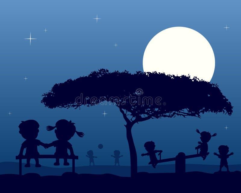 在公园剪影的孩子在晚上 向量例证