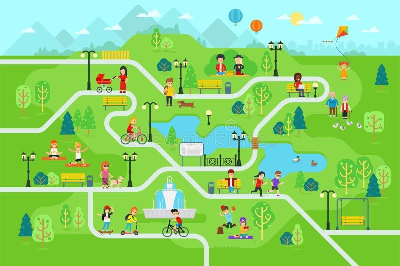 在公园地图infographic元素的休息在平的传染媒介设计 向量例证