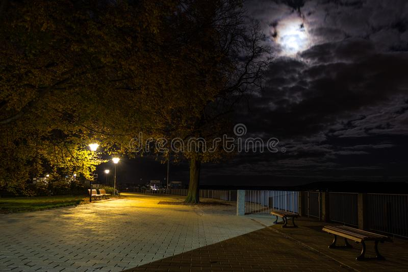 在公园换下场在月光和杆下 库存照片
