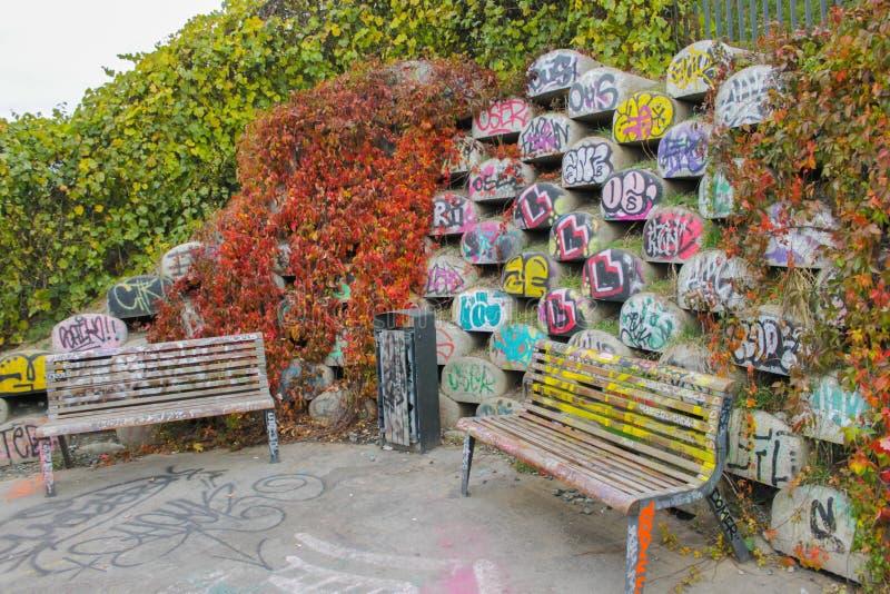 在公园的公园长椅,有背景街道画的 库存图片