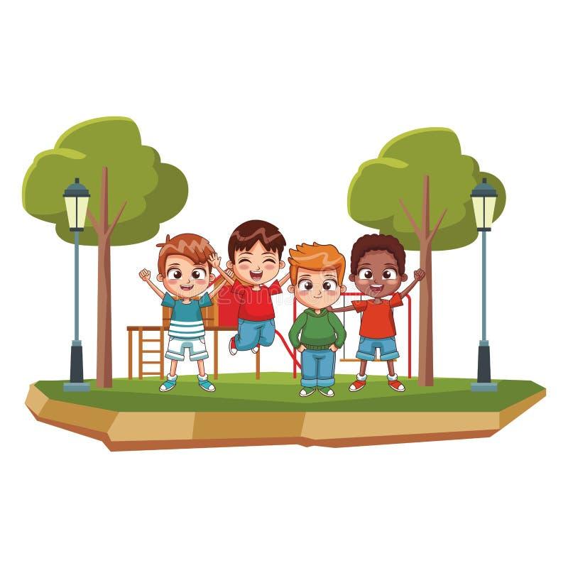 在公园的愉快的孩子 库存例证