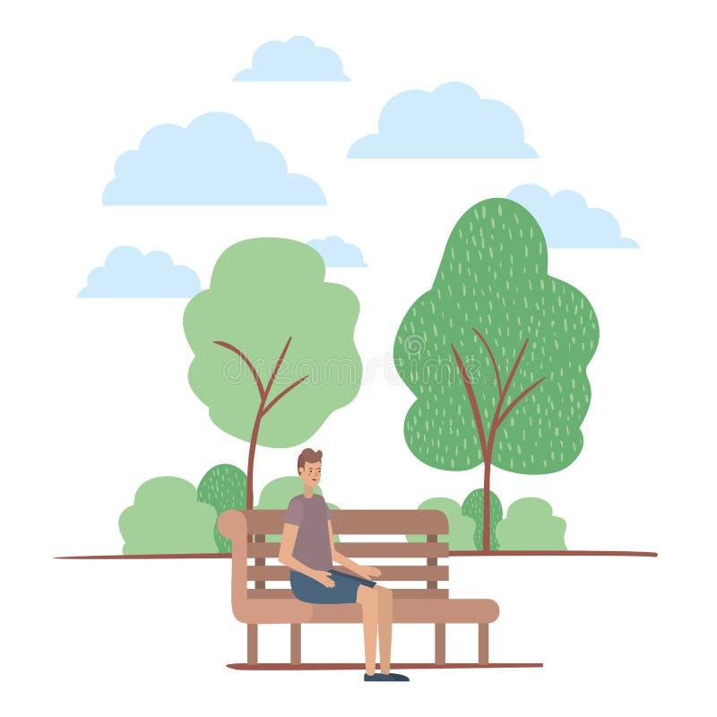 在公园的椅子安装的年轻人 向量例证
