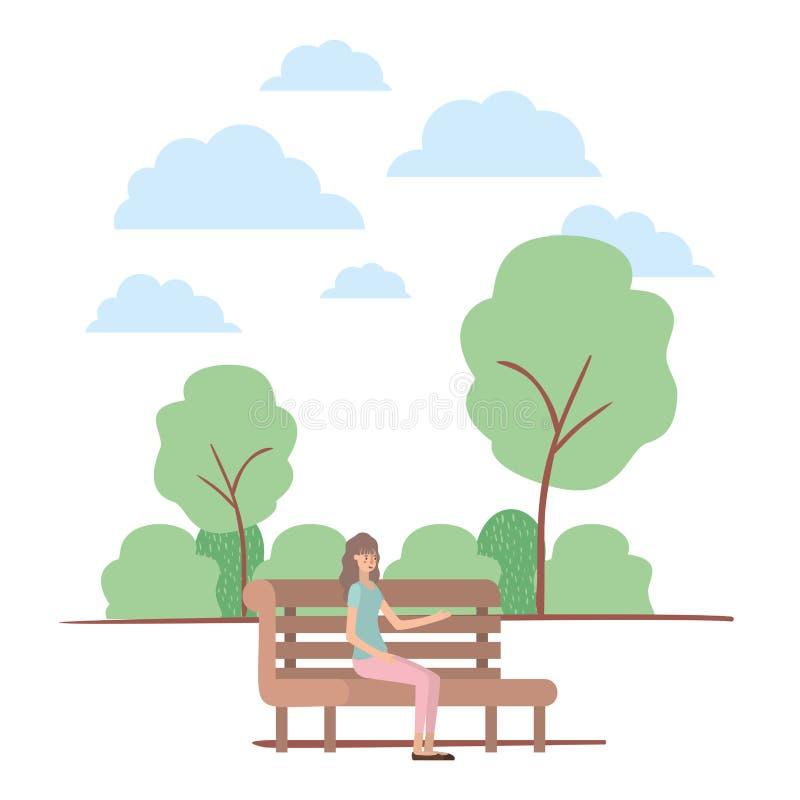 在公园的椅子安装的年轻女人 皇族释放例证