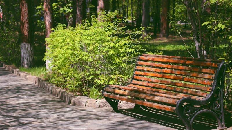 在公园里长椅孤独,这是两个恋人的店。公园孤独,两恋人的店 免版税库存照片