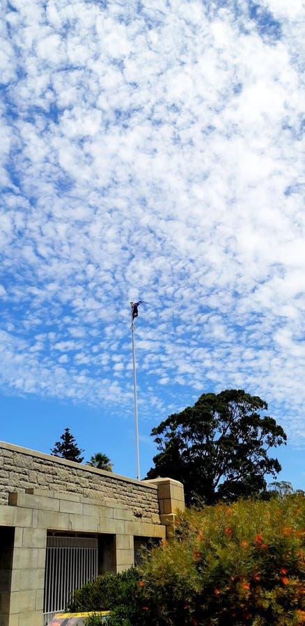 在公园里面的澳大利亚旗子 免版税库存图片