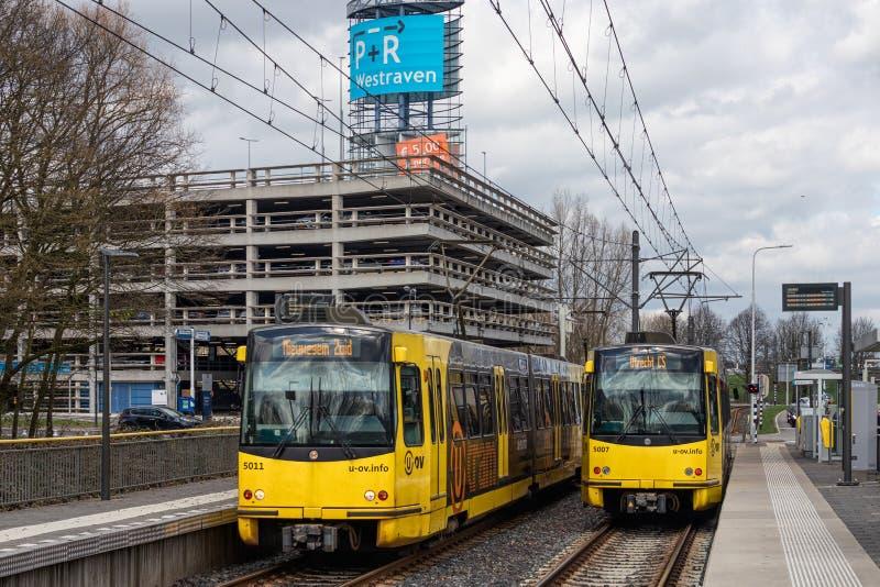 在公园附近的电车驻地和乘驾transferium在荷兰乌得勒支 免版税库存图片