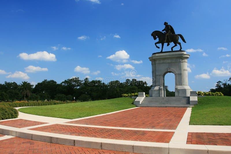在公园,得克萨斯的山姆・休士顿雕象 库存照片