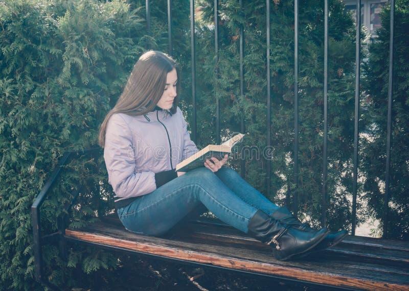 在公园读书的女孩 免版税库存图片