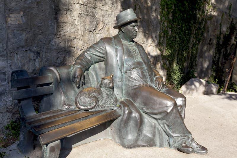 在公园`天堂`疗养院` Aivazovsky ` Partenit的雕塑`休息的krymchanin ` 克里米亚 免版税库存照片