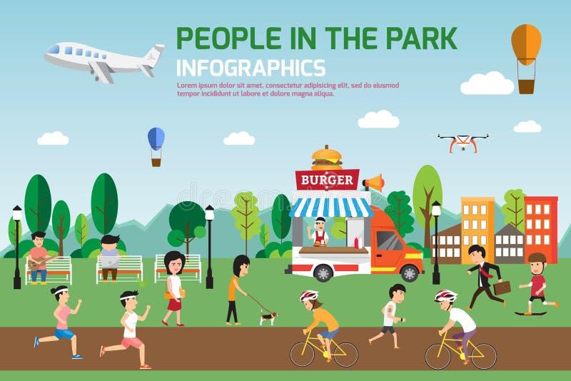 在公园infographic元素平的传染媒介设计的休息 人们 库存例证