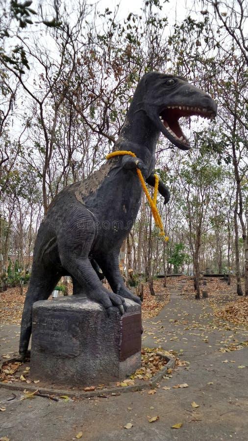 在公园Khonkaen省泰国的恐龙雕象 库存照片