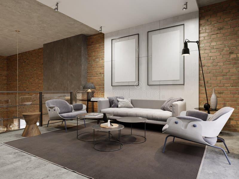 在公寓的休息室地区与沙发、扶手椅子和旁边桌 在装饰混凝土墙上的空的图片 向量例证