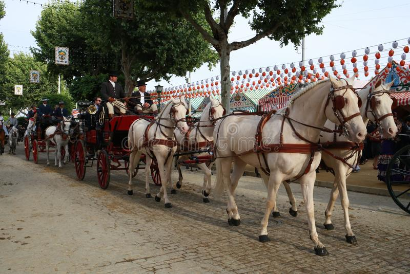 在公平的塞维利亚,安大路西亚西班牙的马推车乘驾 免版税库存图片