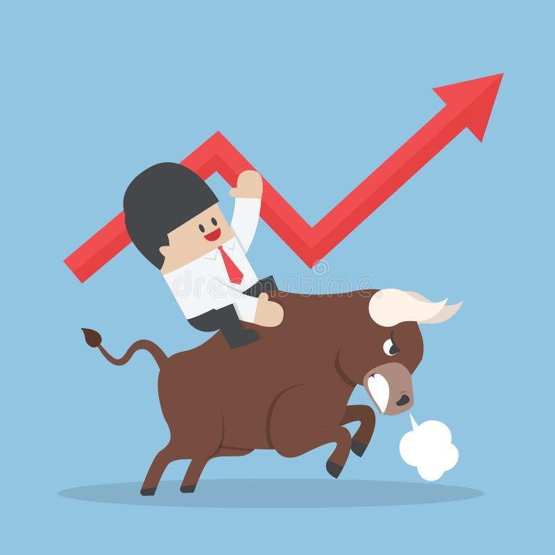 在公牛的商人骑马 库存例证