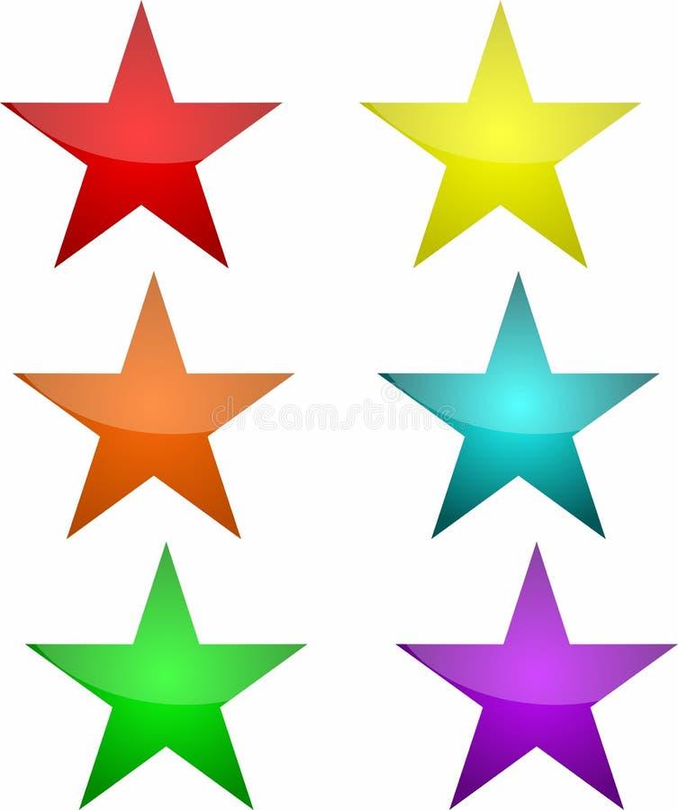 在六种颜色的星按钮 免版税库存照片