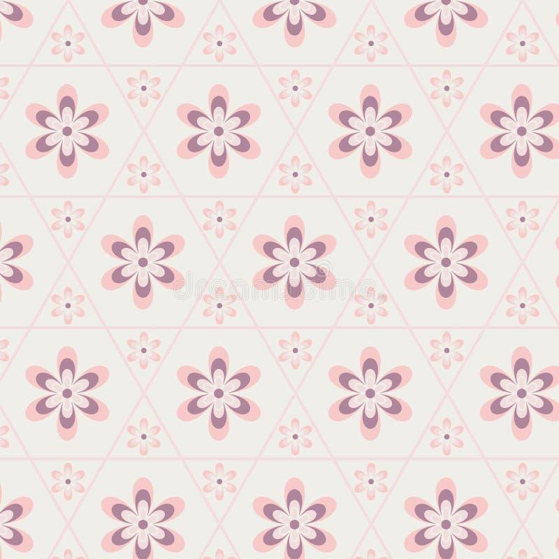 在六角形无缝的样式的蔷薇石英花 皇族释放例证
