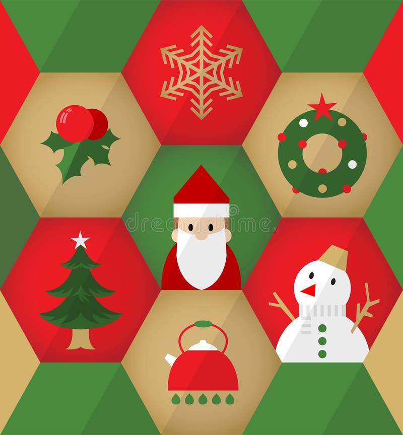 在六角形的平的圣诞节象 库存例证