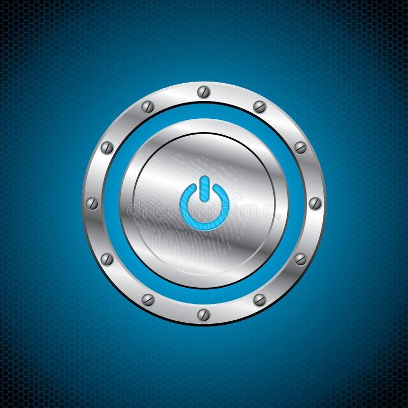 在六角形背景的冷静金属按钮 库存例证