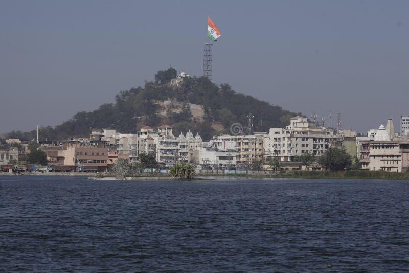在兰契卷扬的世界的最大的印地安国旗 库存图片