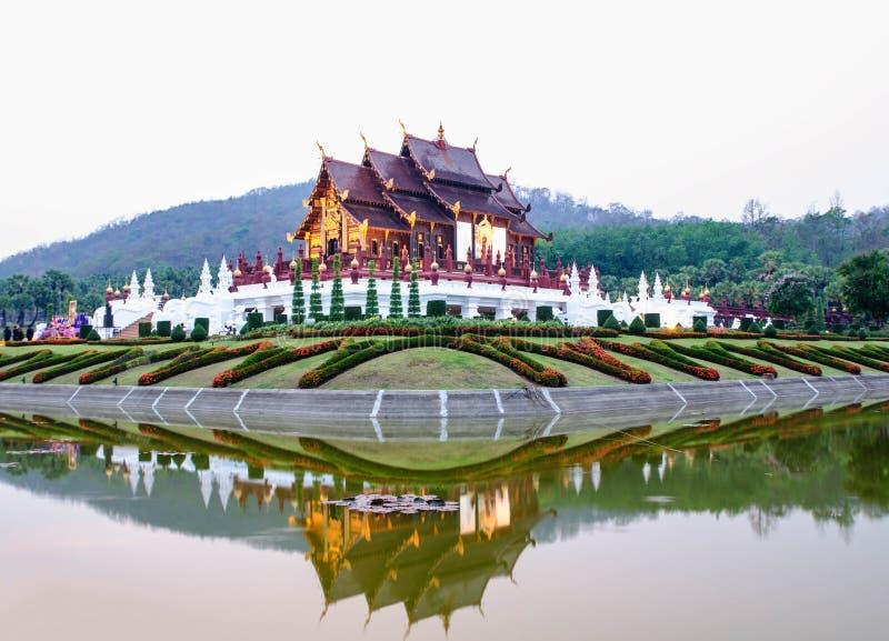 在兰纳样式的建筑学,清迈,泰国 库存图片