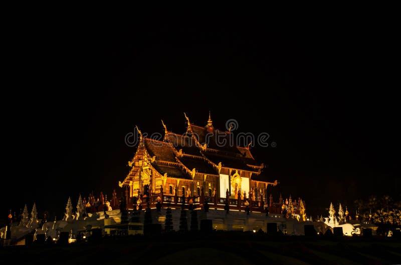 在兰纳样式的建筑学,清迈,泰国 免版税库存图片