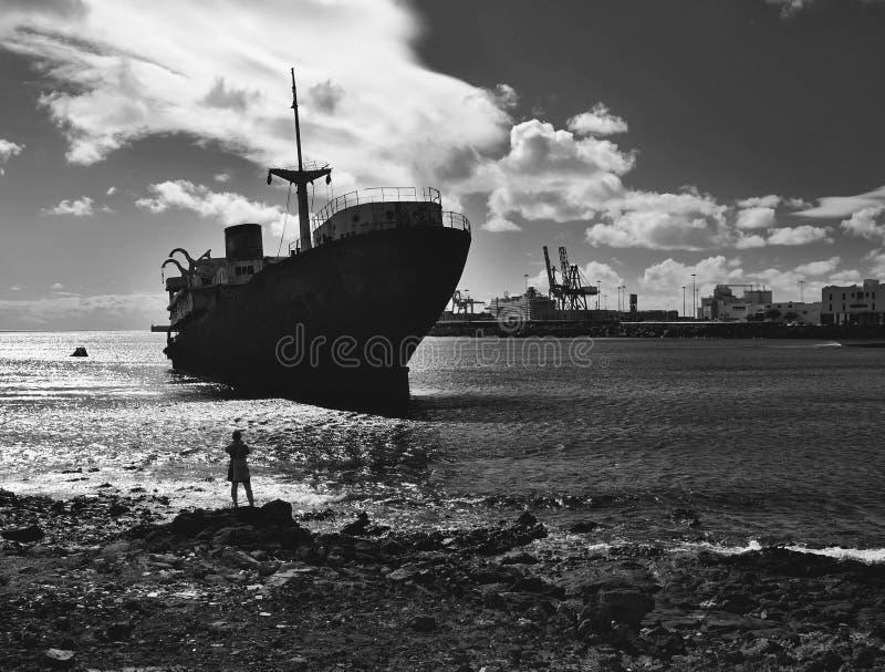 在兰萨罗特岛的海难 免版税库存图片