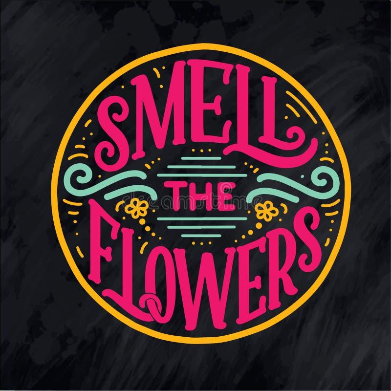 在关于花的行情上写字,在传染媒介做的例证 明信片、邀请和T恤杉设计与手拉的构成 皇族释放例证