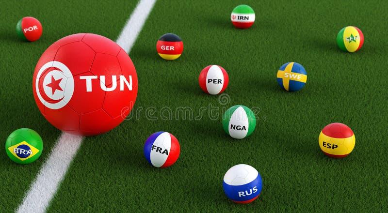 在其他全国颜色的更小的足球在突尼斯全国颜色的大足球围拢的 向量例证