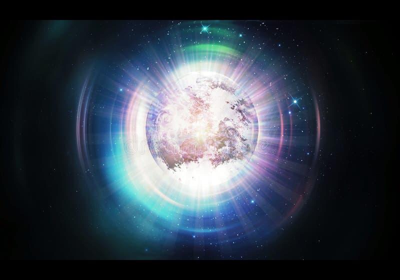在其他更高的维度艺术品的抽象艺术性的行星地球 皇族释放例证