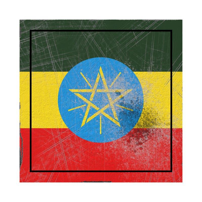 在具体正方形的埃塞俄比亚旗子 皇族释放例证