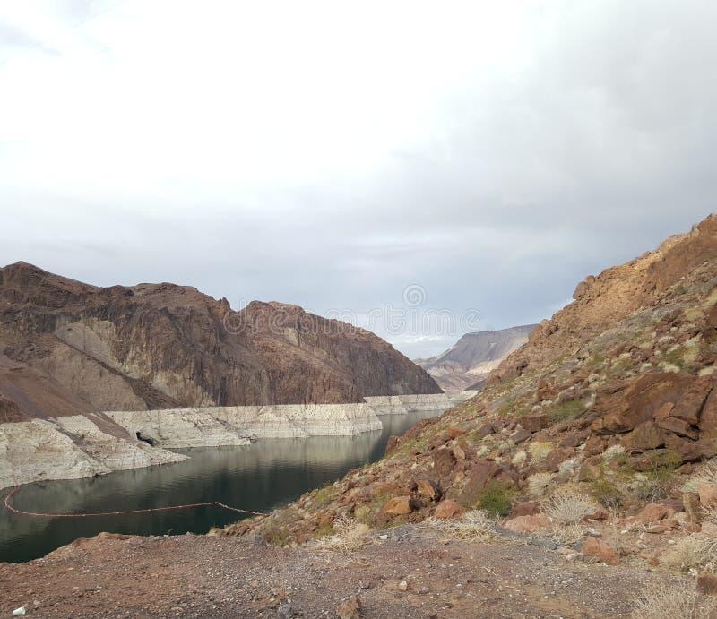 在内华达和亚利桑那,黑峡谷的边界的水力发电的发电器 免版税图库摄影